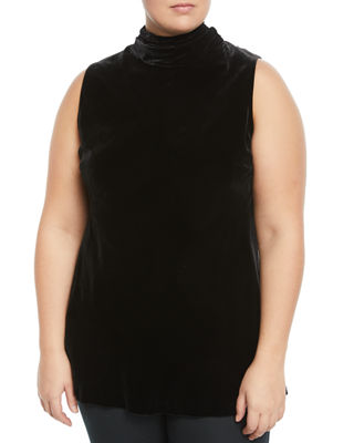 LAFAYETTE 148 NEW YORK PLUS Raynor Tie-Back Velvet Blouse, Plus Size in Black