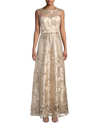 LM COLLECTION Sequin-Embellished Floral Evening Gown in Champagne