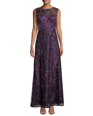 LM COLLECTION Sequin-Embellished Floral Evening Gown in Purple