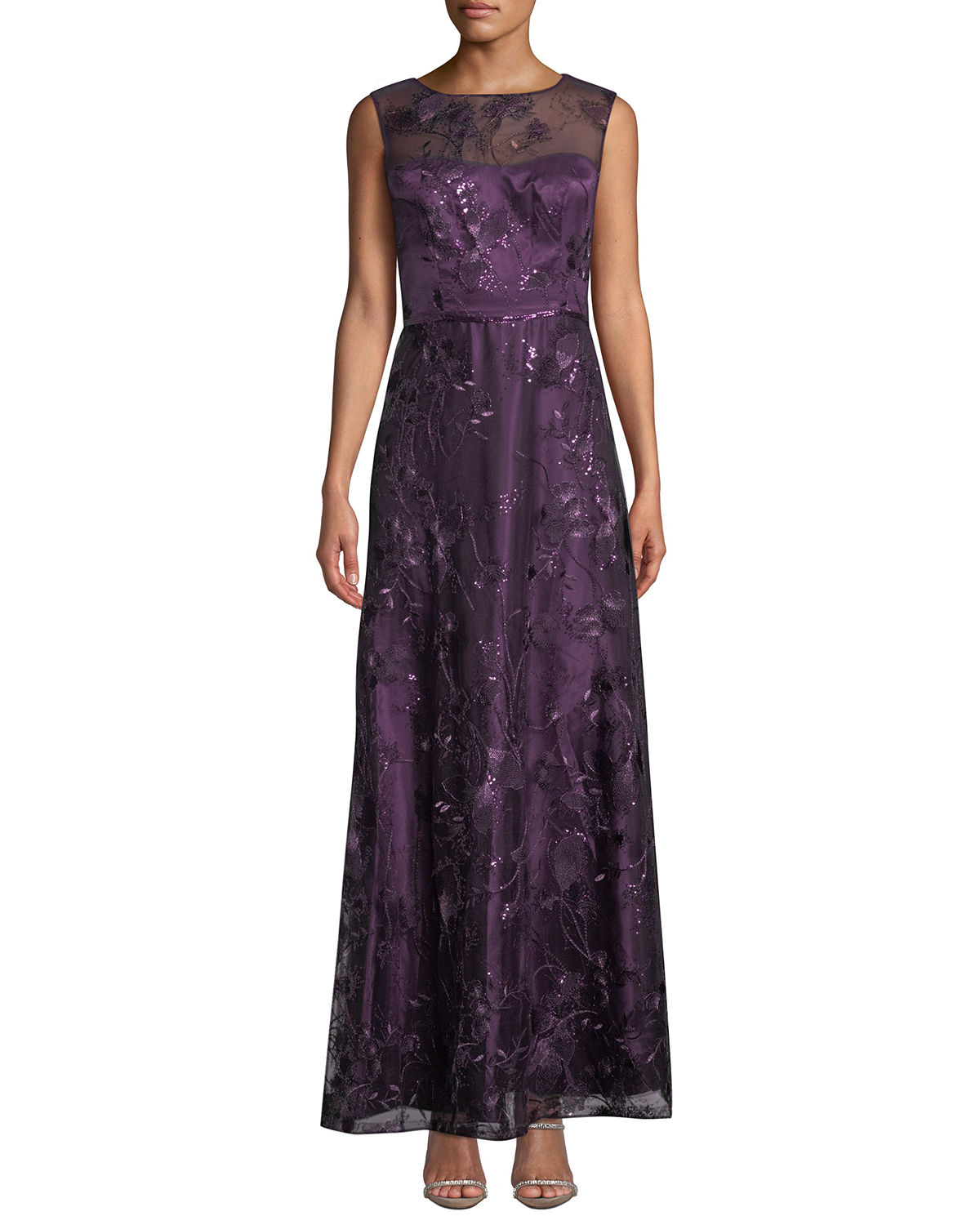 Sequin-Embellished Floral Evening Gown