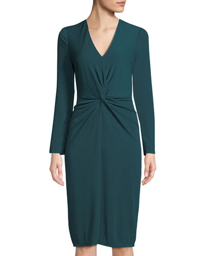 London Times Eve Knot-Front Long-Sleeve Crepe Midi Dress