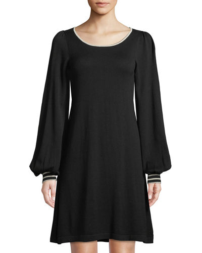 Tipped Long-Sleeve Sweaterdress