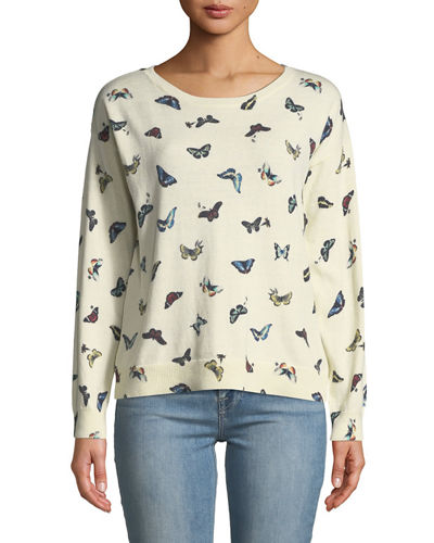 Eloisa Butterfly-Print Pullover Sweater