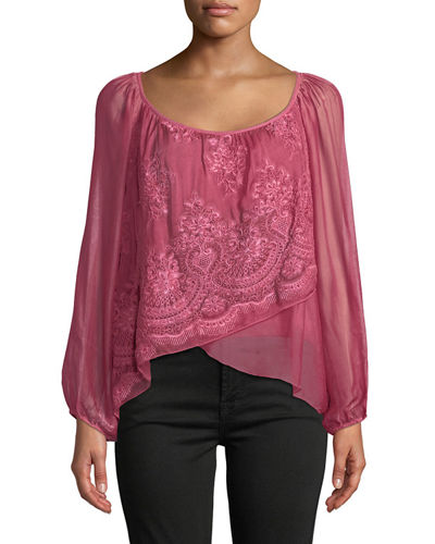 Lace-Front Fold-Over Silk Blend Blouse