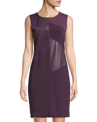 ICONIC AMERICAN DESIGNER Faux Leather & Suede Panel Sleeveless Dress in Purple