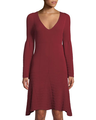 LEON MAX Contrast Stitching Bell-Sleeve Sweater Dress in Wine
