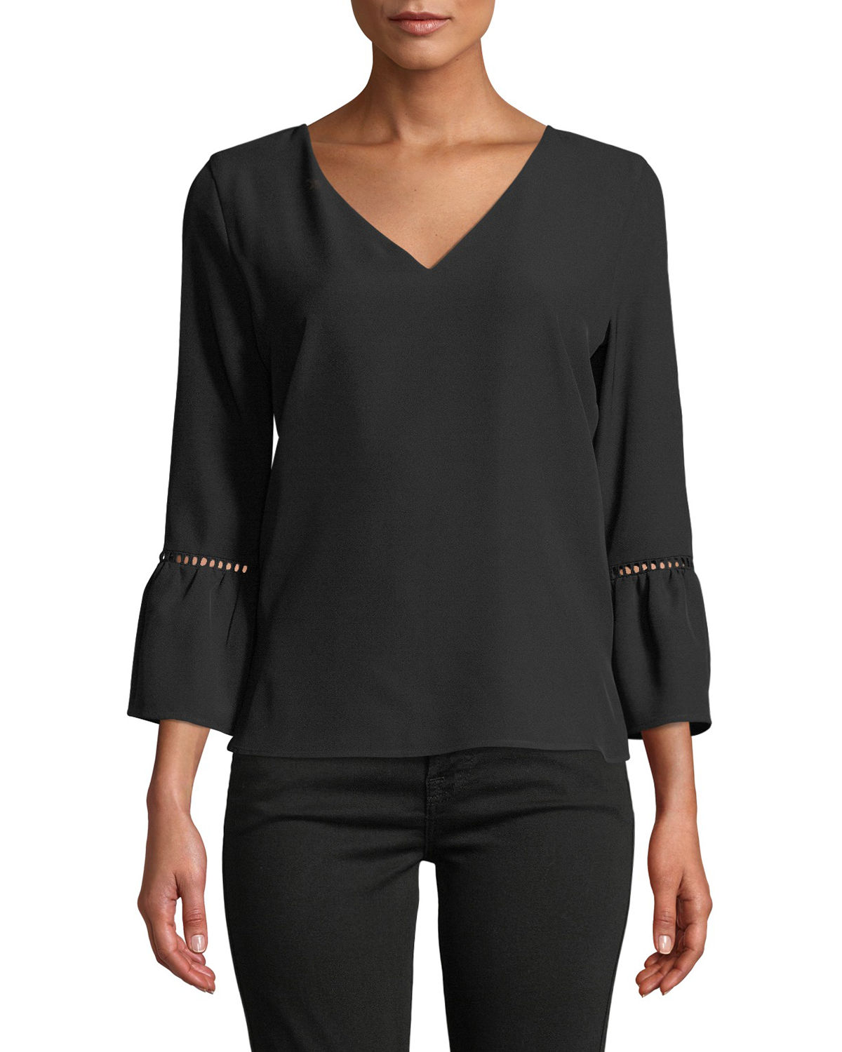 Bell-Sleeve V-Neck Blouse W/ Lace Detail