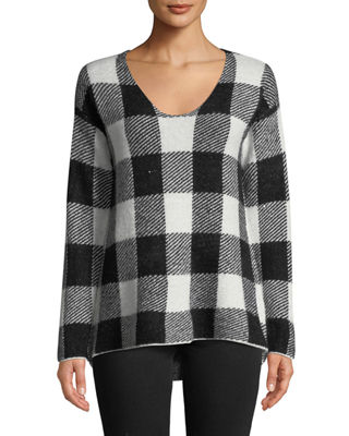 CENTRAL PARK WEST Buffalo Check V-Neck Sweater in Multi