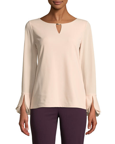 Iconic American Designer Tulip-Sleeve Cutout Crepe Blouse
