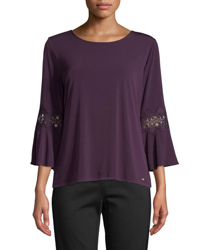 Iconic American Designer Bell-Sleeve Lace-Trim Blouse