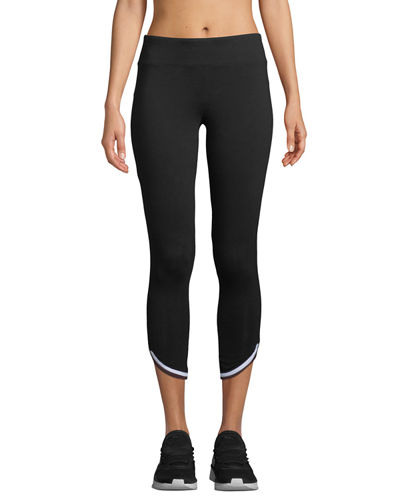 Marc NY Performance Cropped Striped Trim Active Leggings