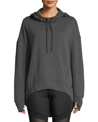 MARC NY PERFORMANCE Fabulous Fleece Hoodie High-Low Tunic Top in Gray
