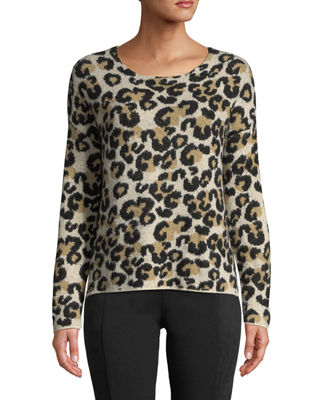 CENTRAL PARK WEST Fuzzy Leopard Print Crewneck Sweater in Animal Print