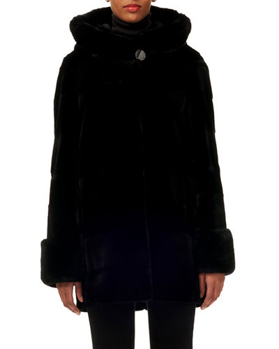 Sheared Rex Rabbit Fur Hooded Parka