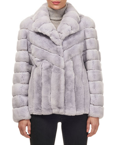 Button-Down Rex Rabbit Fur Jacket