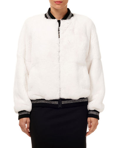 Gorski Rabbit Fur Wool Glitter-Trim Bomber Jacket