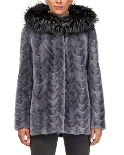 Sectioned Mink Jacket with Fox Trim Hood