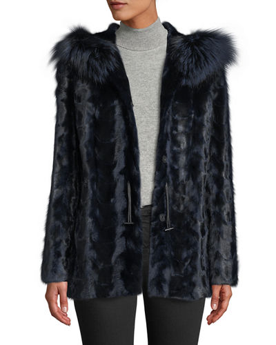 9833b8107776b Sectioned Mink Jacket with Fox Trim Hood