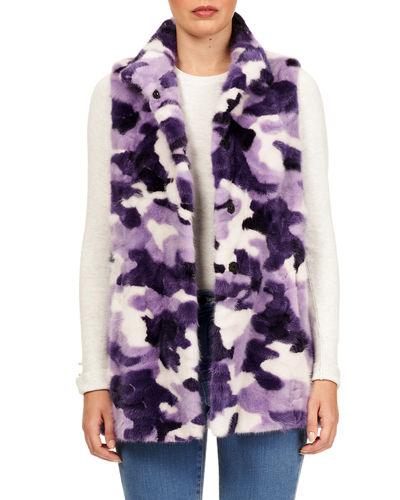 Gorski Snap-Front Sectioned Mink Fur Vest
