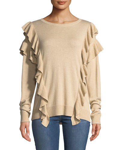 Long-Sleeve Crew-Neck Ruffle Sweater