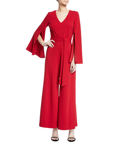Split-Sleeve Solid Jumpsuit