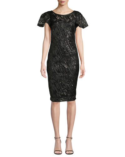 Embroidered Sequin Sheath Dress