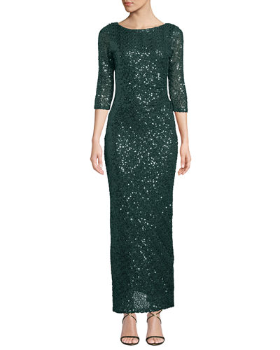 Marina 3/4-Sleeve Sequined-Lace Open Back Gown