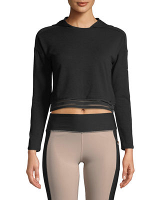 TAHARI SPORT Liana Semi-Cropped Hoodie in Black