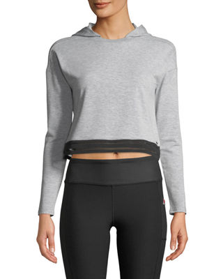 TAHARI SPORT Liana Semi-Cropped Hoodie in Gray