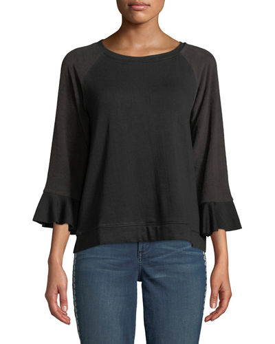 Bobeau Tops MARTHA RUFFLE-SLEEVE SWEATSHIRT