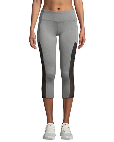 Colorblock Mesh Panel Capri Leggings