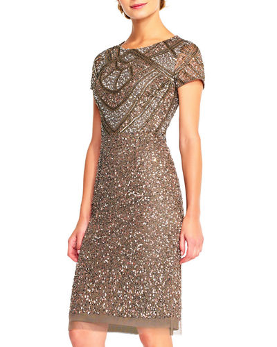Adrianna Papell Short-Sleeve Beaded Sheath Dress