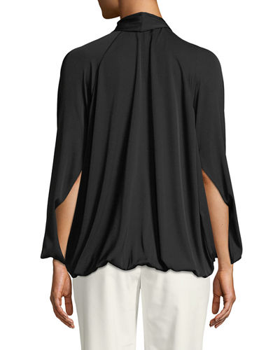 Gathered Silk Blouson Top