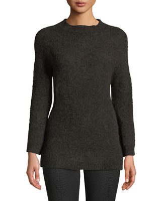 LEON MAX Fully Fashioned Mohair Pullover Sweater in Brown