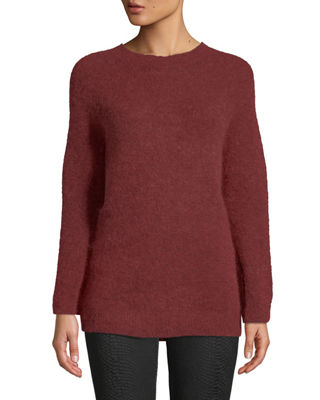 LEON MAX Fully Fashioned Mohair Pullover Sweater in Dark Red