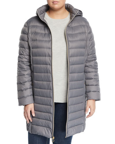 Hooded Zip-Front Packable Long Jacket, Plus Size