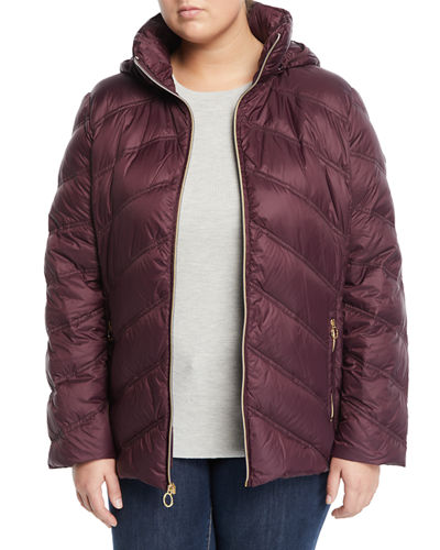 Short Hooded Zip-Front Packable Jacket  Plus Size