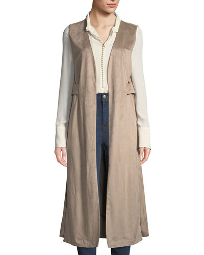 Faux-Suede Open-Side Duster Vest