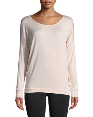 MARC NY PERFORMANCE Bow-Back Elongated Long-Sleeve Tee in Pink