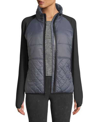 Spliced Raglan-Sleeve Puffer Jacket