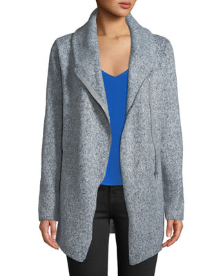 SHANTY Central Park Cowl-Neck Zip-Front Jacket in Blue