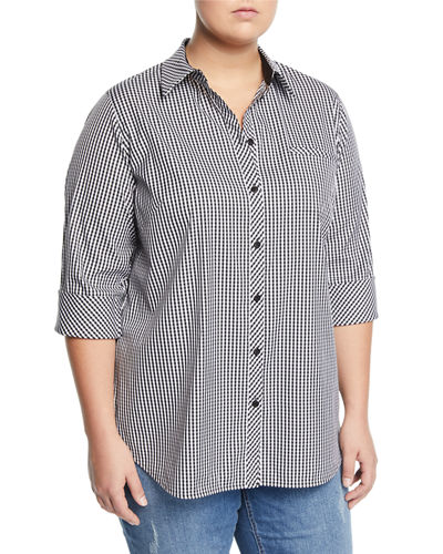 Lafayette 148 New York Paget Ithaca Mini-Check Shirting