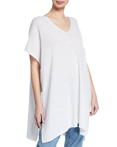 V-Neck Linen Slub Tunic Sweater