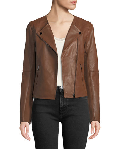 Collarless Smooth-Leather Biker Jacket
