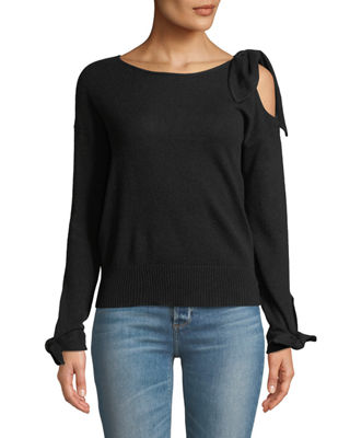 MARLED BY REUNITED Cold-Shoulder Cashmere Long-Sleeve Sweater in Black