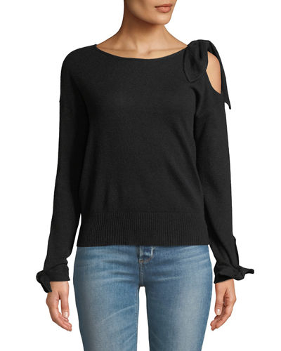 Cold-Shoulder Cashmere Long-Sleeve Sweater