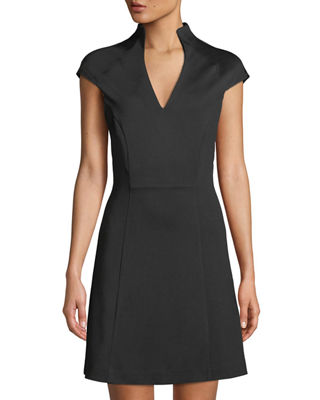 ALEXIA ADMOR Military-Neck Short-Sleeve Fit & Flare Dress in Black