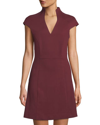 Military-Neck Short-Sleeve Fit & Flare Dress in Red