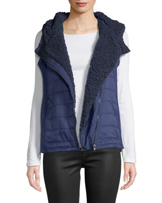 ANNA CAI Ribbed Knit Fleece Hooded Vest in Navy