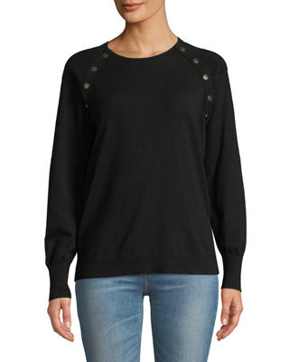 ANNA CAI Snap-Trim Long-Sleeve Sweater in Black